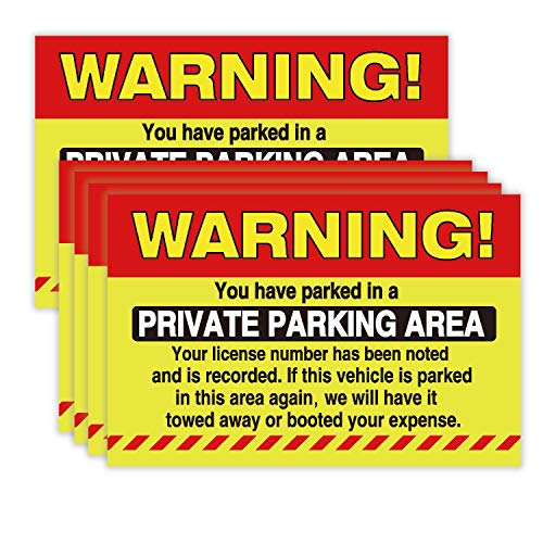 50 Private Parking Stickers, You Have Parked in A Private Parking Area, Reserved No Permit Area Violation Warning Notice Vehicle is Illegally Parked - Large Size 6 X 9 inches