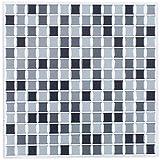 infactory 3D Fliesenaufkleber Bad: Selbstklebende 3D-Mosaik-Fliesenaufkleber Dezent 26 x 26 cm, 3er-Set (Selbstklebende Mosaik Folie) - 2