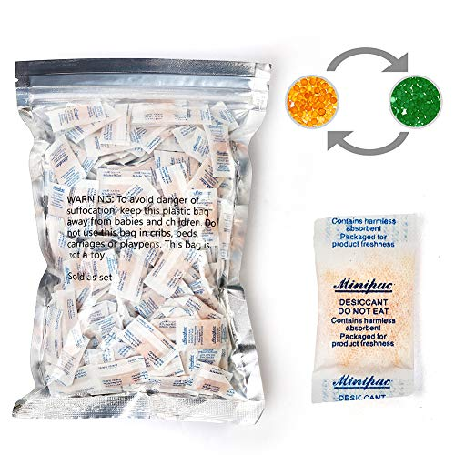 LotFancy Silica Gel Packets, 300 Packs 0.5 Gram, Indicating Desiccant Dehumidifier Packets, Food Safe Moisture Absorber Bags for Spices Jewelry Shoes
