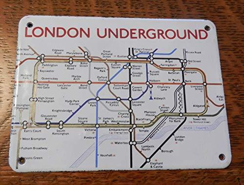 EpochSign Blechschild mit Metallschild London Underground emaillierter Stahl, 20 x 30 cm