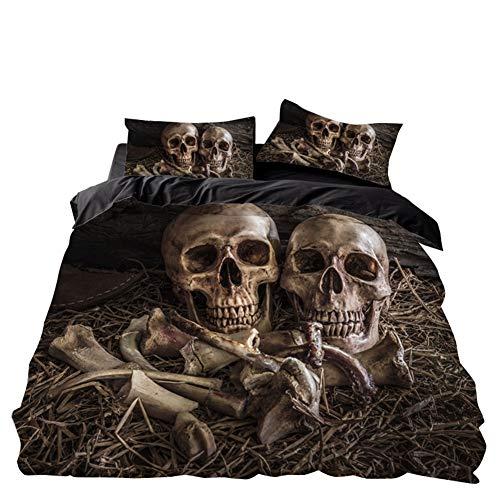 WFBZ Bedding 3D Totenkopf Bettbezug 135x200 cm 1 Kissenbezug 50x75 cm,Mikrofaser, Bettwäsche Mit Reißverschluss Für Erwachsene, (04,135 x 200 cm)