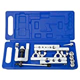 Flaring Tool Kit Swaging Tool Kit 45 Degree Tubing 1/8 to 3/4 inch Swage Tool for Soft Copper Tube Extrusion Type Water Gas Line Automotive Plumbing 14 pcs Cone with Carry Case