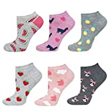 soxo Damen Bunte Sneaker Socken | Größe 35-40 | 6er Pack | Baumwolle Damensocken mit lustigen Motiven | niedriger Schnitt | Perfekt für flache Schuhe | tolle Ergänzung für Ihre Garderobe