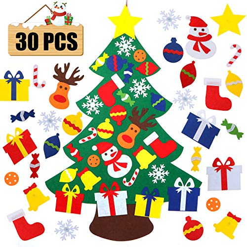 VOCOO Felt Christmas Tree for Kids - 3Ft DIY Christmas Decorations for Wall Door Hanging,with 30 Detachable Christmas Ornaments, for Kids (Felt)