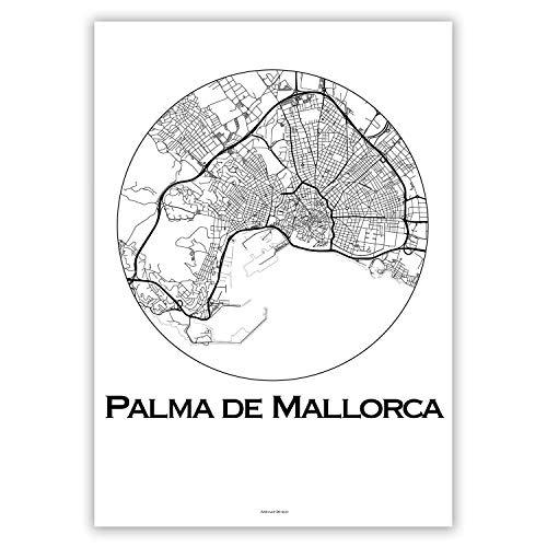 Plakat Palma de Mallorca Balearen Minimalist Map - Poster, City Map, Dekoration, Geschenk