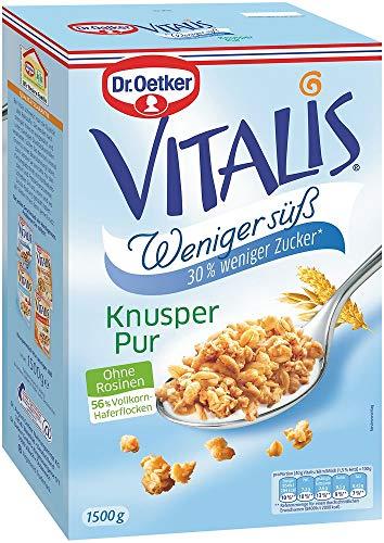 Dr. Oetker Vitalis Weniger Süß Knusper Pur, Großpackung Knuspermüsli mit 30% weniger Zucker (1 x 1,5kg)