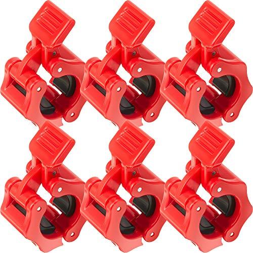 6 Clips de Collar de Bloqueo de Pesas 1 Pulgada Abrazaderas de Barra de Liberación Rápida Collar de Bloqueo Abrazadera de Pesas con Barra Antideslizante para Entrenamiento de Fuerza Física (Rojo)