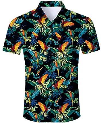 RAISEVERN Camisas de Vacaciones de Hawaii con Estampado de Loros en el árbol de Manga Corta para Hombres para Summer Beach M.