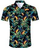 RAISEVERN Hombres de Manga Corta Loros Coloridos en el árbol Impreso Hawaiian Camisas de Vacaciones para la...