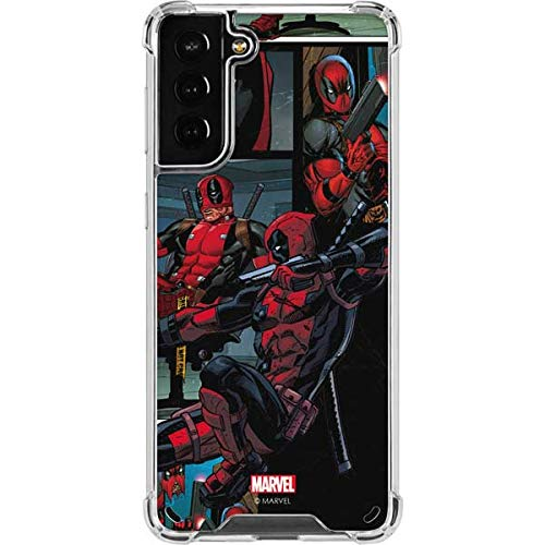 Skinit Clear Phone Case Compatible with Samsung Galaxy S21 Plus 5G - Officially Licensed Marvel Deadpool Comic Design
