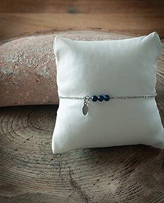 Bracelet minimaliste pendentif navette, pierre naturelle lapis lazuli, chaîne acier inoxydable argent