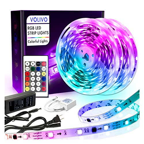 Volivo Rainbowcolor Led Strip Lights 32.8ft, 2 Rolls of 16.4ft 5050 Color Changing LED Lights for Bedroom, Room, Kitchen, Home, Party with 24 Key IR Remote