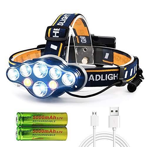 Lampada Frontale, USB Lampada Frontale Super Luminosa 18000 Lumen 8 LED 8 Modalità con Spia Rossa, Lampada Frontale Ricaricabile Impermeabile, Lampada Frontale per Campeggio, Pesca, Jogging