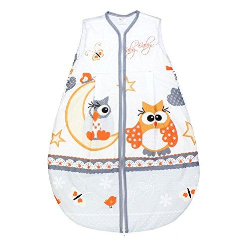 TupTam Baby Unisex Schlafsack Ärmellos Wattiert, Farbe: Eulen Grau, Größe: 80-86