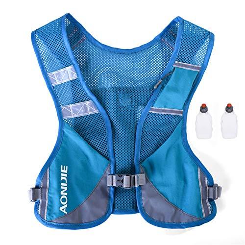 AONIJIE Ultraleicht Trinkrucksack Laufen Marathon Rucksack Getränketasche mit 2 Stück Trinkflaschen (Blau)
