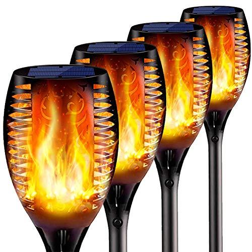 CRZJ Solar Fackel Lichter flackernden Flammen, wasserdichte Landschaft Garten Pathway Licht mit lebendigen tanzenden flackernden Flammen, mit Auto On/Off Dämmerung bis Morgendämmerung