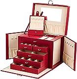 Joyero Grande con Cerradura de 4 Niveles y 3 cajones con Espejo para Anillos, Pendientes, Collares y Pulseras (Rojo)