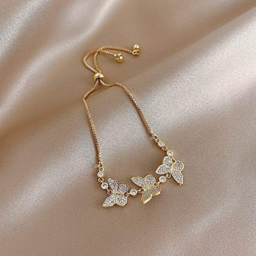 N/A Jewelry bracelet fashion jewelry exquisite copper inlaid zircon three butterfly bracelet stretch adjustable female fashion bracelet Anniversary Valentine's Day Mother's Day Birthday Gift