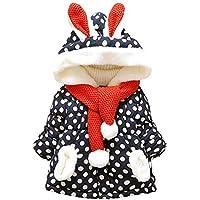 Invierno Abrigos Bebe Niña 1-5 años Niñas Lunares Chaqueta con Capucha de Oreja de Conejo Lindo Parkas Abrigo de Algodon