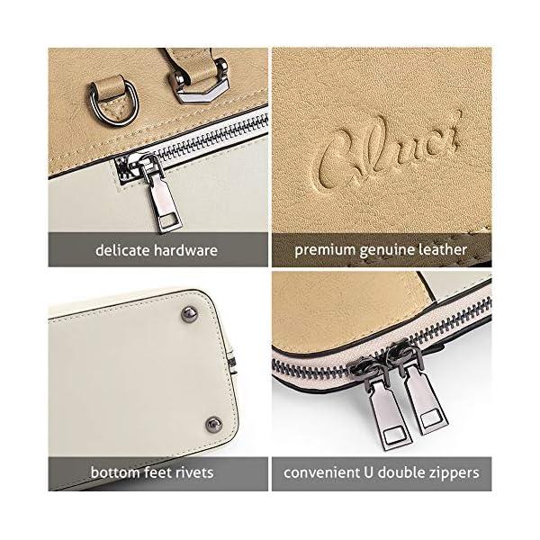 CLUCI Briefcase for Women Oil Wax Leather 15.6 Inch Laptop Business Vintage Slim Ladies Shoulder Bag 5