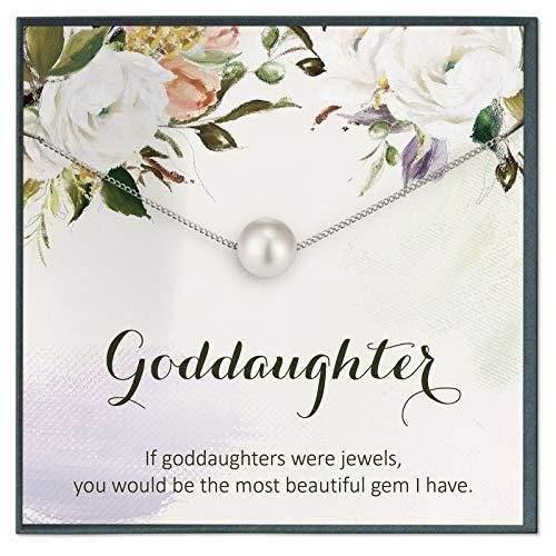 Grace of Pearl Regalos personalizados de joyería para ahijada para ahijada, regalos de cumpleaños para ella regalos de bautismo de madrina a hijo.