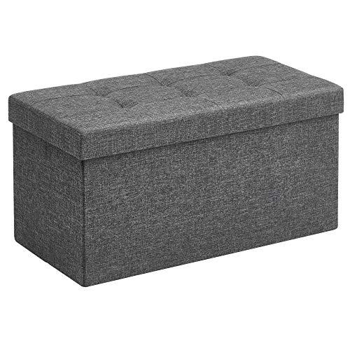 SONGMICS Sitzbank mit Stauraum, Sitztruhe, Sitzhocker, Aufbewahrungsbox, Fußablage, faltbar, belastbar bis 300 kg, 80 L, 76 x 38 x 38 cm, Leinenimitat, dunkelgrau LSF47K