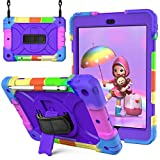 New iPad Case 10.2 inch 2020 for Kids|Blosomeet Shockproof iPad 8th/7th Generation Case w/Stand Pencil Holder & Hand Shoulder Strap|3-Layer Drop Protection Rugged iPad 10.2 Case Cover 2019 |Purple