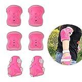JJOnlineStore Lot de 6protection de sécurité pour enfant Genou Coude Poignet Roller Skate Skateboard Cyclisme, rose