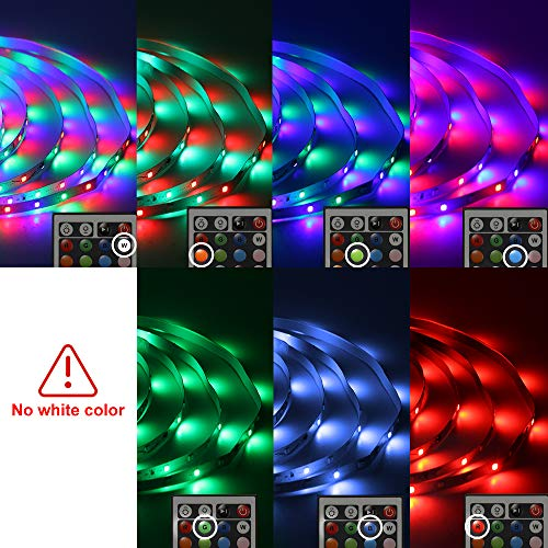Daybetter 3528 Led Strip Lights Color Changing with 24 Key Remote and Power Supply( 2 Rolls of 16.4ft ) 7
