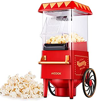 AIICOOK Electric Nostalgia 1200W Popcorn Popper with Measuring Cup