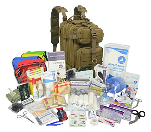 Lightning X Stocked EMS/EMT Trauma & Bleeding First Aid Responder Medical Backpack + Kit + Pouches - OD Green