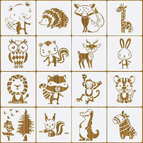 OOTSR 16 Piezas Plantillas de Pintura de Animales, Plantillas de Dibujo Plantillas de Pintura Reutilizables, Stencils para Manualidades Muebles Madera Decoraciones de Pared-15x15cm