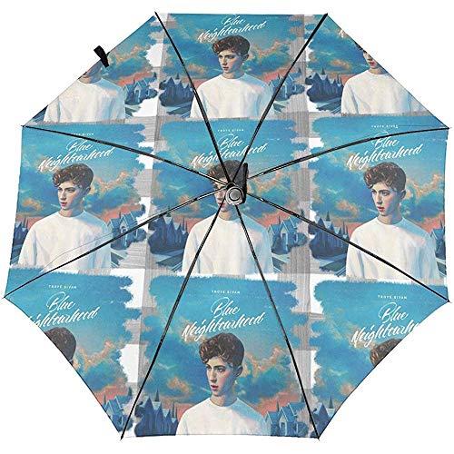 Troye Sivan Blue Neighborhood Automatic Dreifach-Taschenschirm Cartoon Sun Umbrella Reiseschirm Windproof Folding Portable Automatic