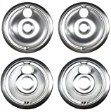 Replacement WB31T10010, WB31T10011 Chrome Drip Pans Compatible with GE Hotpoint Electric Range (4 Pack)