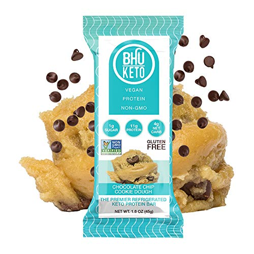 BHU Keto Bars - Chocolate Chip Cookie Dough Refrigerated Protein Snacks (8 pack) - Made Fresh Daily With Natural and Organic Ingredients - Low Carb, Vegan, Gluten-Free and Non-GMO