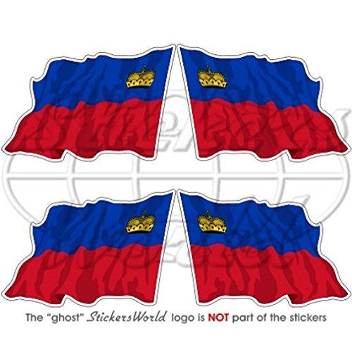 Liechtenstein Waving Flag 5,1 cm (50 mm) bumper-helmet en vinyle autocollants, Stickers x4