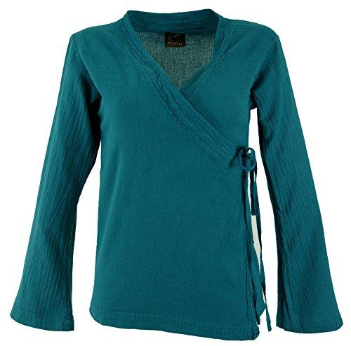 Guru-Shop Goa Wickelbluse Baumwolle, Damen, Petrol, Size:XL (42), Blusen & Tunikas Alternative Bekleidung
