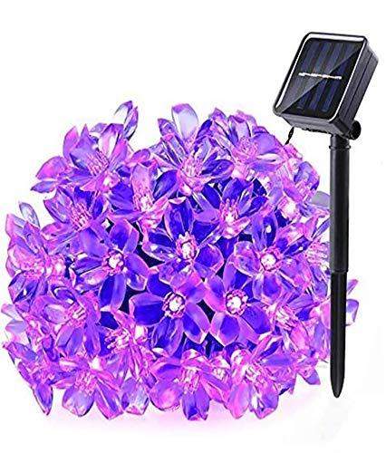 Solar Lichterketten 50 LED Solarbetriebene Lichter, wasserdichte Weihnachts-Funkeln Lichterketten im Freien Kirschblüten Blumenlichter für Patio,Baum, Haus, Rasen, Hochzeit, Partydekorationen (lila)