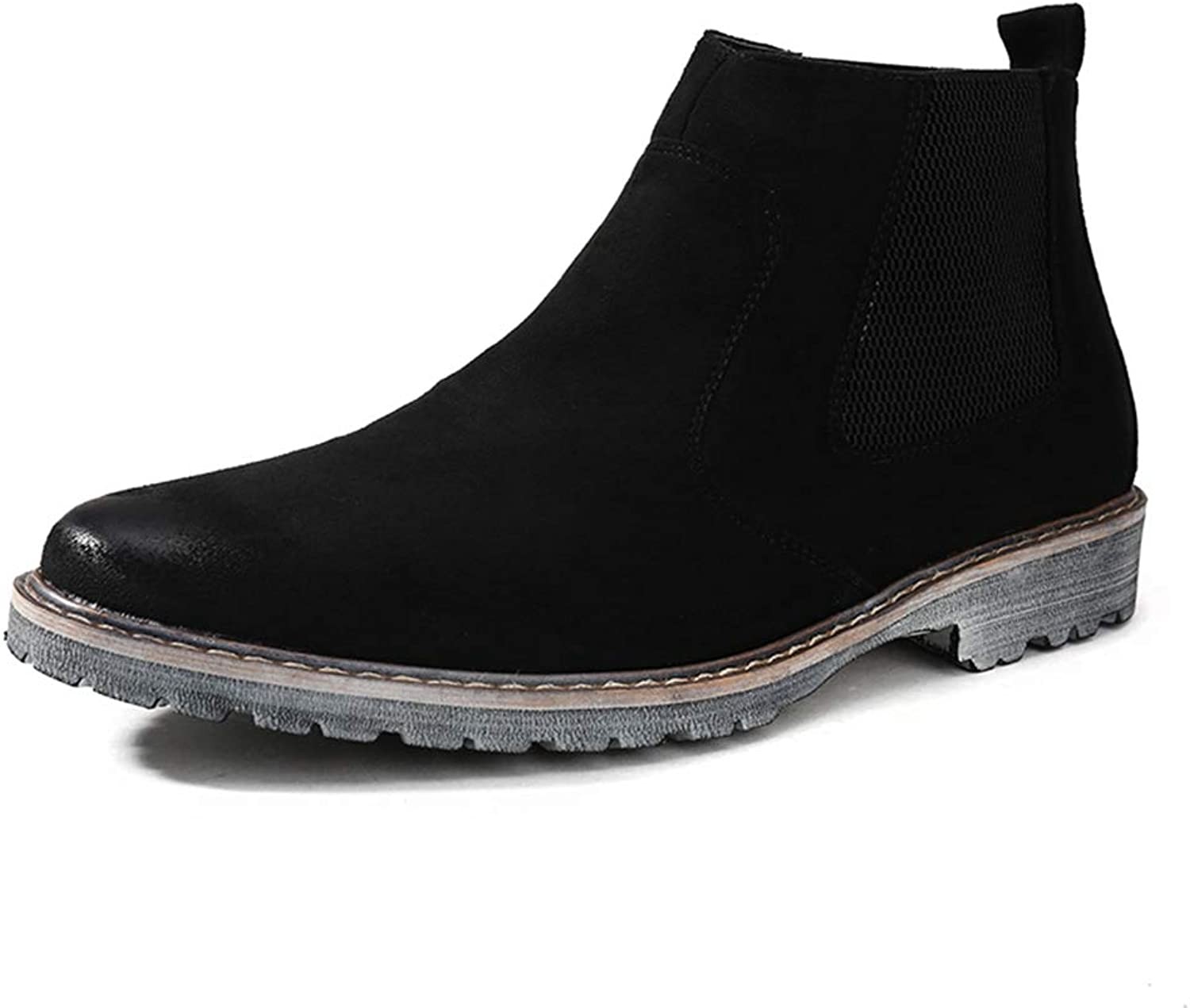 Mens Chelsea Boots Classic Retro Ankle Boots Non-Slip Slip-on Dress shoes Pointed Toe Short Boots