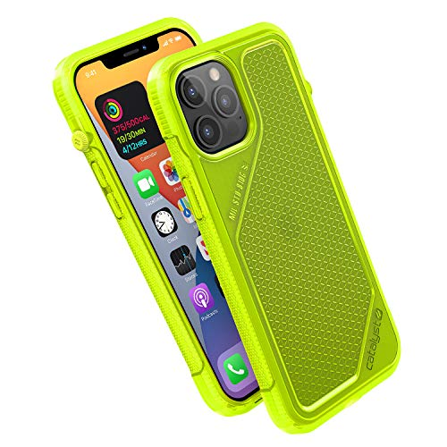 Vibe Series Funda diseñada para iPhone 12 Pro Max, interruptor de silencio giratorio patentado, compatible con MagSafe, 3 m a prueba de caídas, sistema de fijación Crux Accesorios, amarillo neón