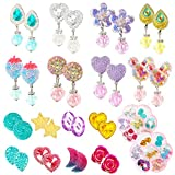 16 Pairs Clip On Earrings for Girls Play Earrings Pretend Princess Play Jewelry Party Favors Gifts for Little Girls