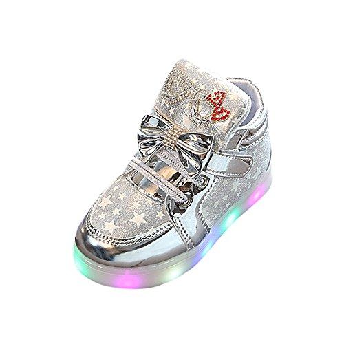 WINJIN Chaussures bébé Filles Enfants Baskets Lumineux Coloré Sneakers LED Lumineuse Girls Shoes LED Light Bottes Bébé Filles Chaussures pour Petit Enfants Child Toddler (1-6 Ans, Or Rose Argent)