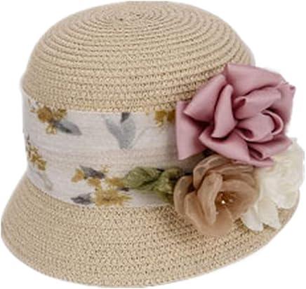 Women's straw hat Ladies Elegant Flowers Lace Side Beach Straw Hat Outdoor Travel Summer Sun Hat Sun Predection straw hat,Women Sun Hat,Women's Be (Size   L)