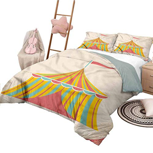 Nomorer Bedding Sets Full Size Circus Modern Quilt Cover Reversible&Decor Circus Tent Grunge