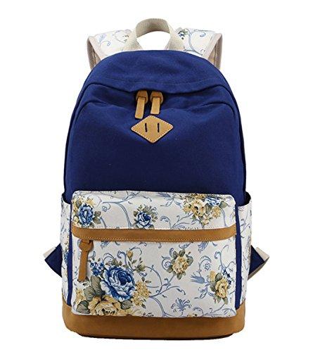 DNFC School Bag for Girls Backpack Women Canvas Rucksack Daypack Sports Bag Laptop Book Bag Floral Backpack (Blue)