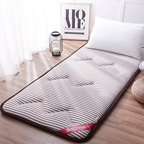 JY&WIN Thick Japanese Floor Mattress,Foldable Roll Up Mattress,All Seasons Student Dormitory Mattress Easy To Carry Anti-slip-coffee Color