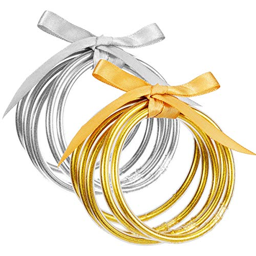 10 Pack Gold and Sliver Glitter Filled Party Bangles- Bowknot Glitter Filled Jelly Silicone Bangle Bracelet Lightweight Cute Fashion Bangles 5 Gold 5 Sliver Best Present Idea for Women Girls