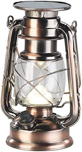 Lunartec Solar LED Lampe: Ultra helle Solar-LED-Sturmlampe, 200 Lm, 3 W, warmweiß, Bronze (Sturmlaterne LED)