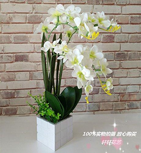 USDFJN Orchidée Papillon Décoration Artificielle Faux Vase De Fleurs En Soie Blanc