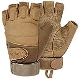 Black Snake Tactical Halbfinger Handschuhe | Einsatzhandschuhe Mission Gloves | Fahrrad, Motorrad, Paintball, Survival, Jagd - M - Coyote